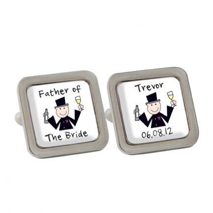 Cartoon wedding cufflinks. Personalise with any message. £16.99 plus postage one pair supplied www.littlegiftcorner.com