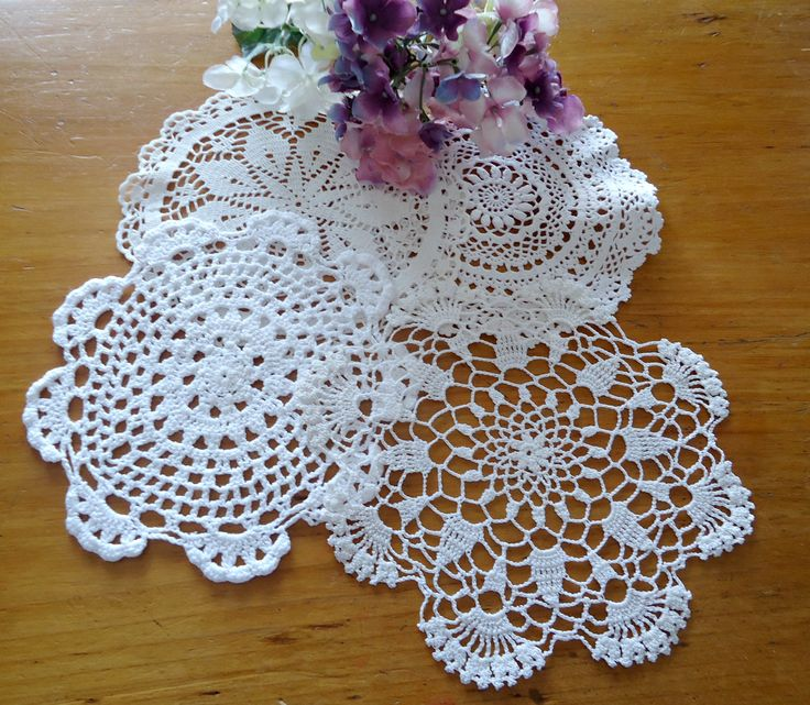 4 Doilies Doily Crocheted Doily White Vintage Doilies  G12 by TreasureCoveAlly on Etsy