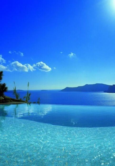 Blue sky, blue infinity pool