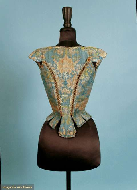 LADIES' SILK BROCADE STAYS, 1700-1720