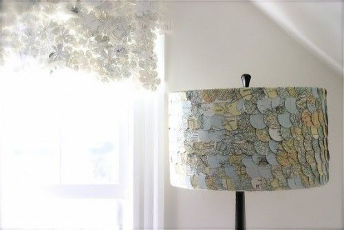 Made from a map - attached like fish scales on the lampshade. This is from Esty.