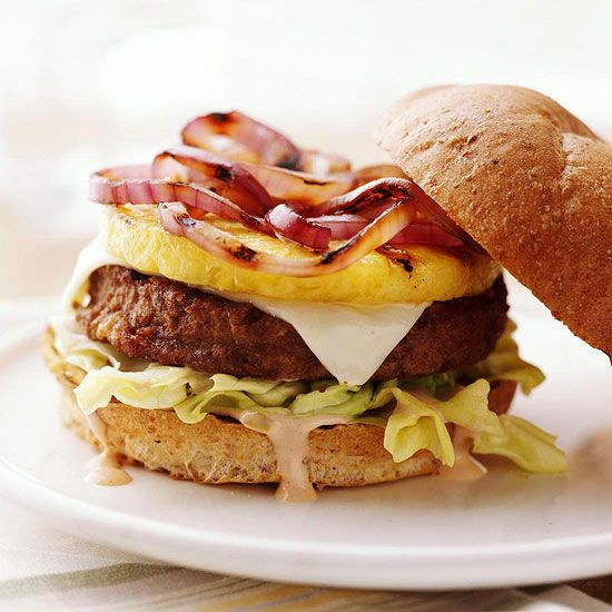 Replace beef with soy burgers for all the flavor without the fat! More 25-minute healthy dinner recipes: http://www.bhg.com/recipes/healthy/dinner/quick-heart-healthy-dinner-recipes/?socsrc=bhgpin061913soyburger=9