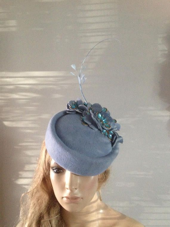 pale blue wool felt pillbox hat adorned with hand sculptured
