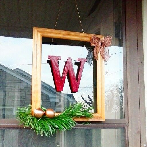 last name letter christmas door hanger