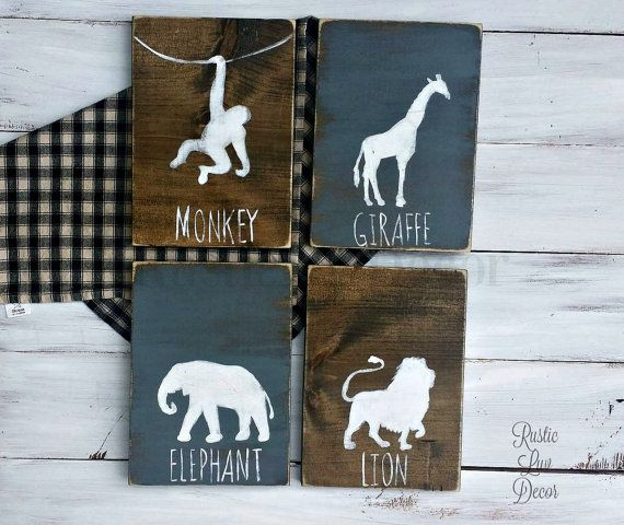 Rustic jungle animal nursery set. This is a simple, timeless four piece set, hand painted on reclaimed wood. Great wall art to welcome home baby to his new room that he can hang throughout the years.  Last minute gift, need your order rushed? Add this rush option to your cart with your order! https://www.etsy.com/listing/237039428/rush-my-order-last-minute-gift?ref=shop_home_active_21  All images will be white unless noted. We are now accepting custom orders on this design.  Each board now…