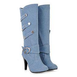 Blue Denim Boots Knee High Buckle Strap up to Size 12 (27.5cm - EU 44)