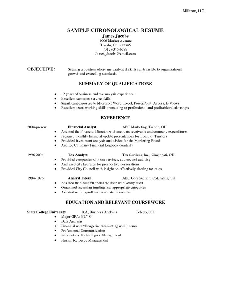 Chronological Resume Sample Examples