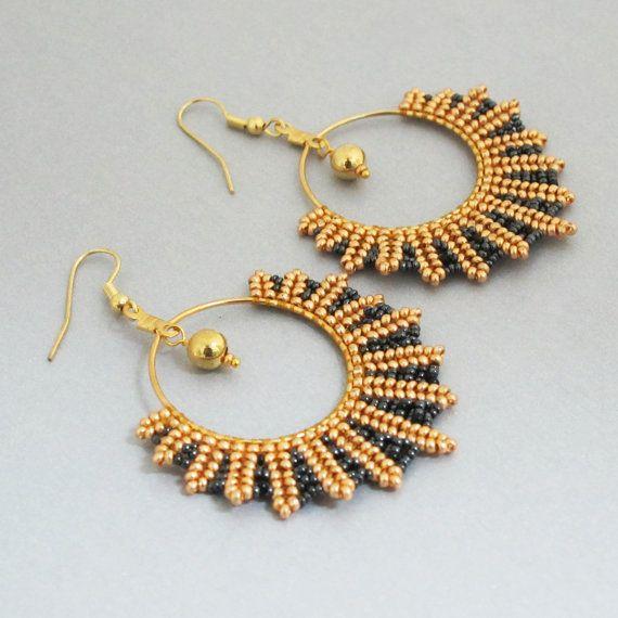beaded gold and black seed hoop earrings