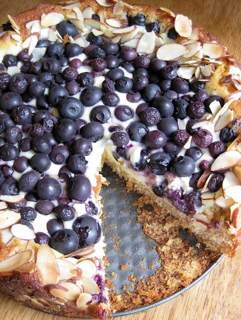 Blueberry Cream Cheese Danish Cake Recipe ~ The buttermilk cake base was light and moist. The lemony filling was rich and creamy. The blueberries were beautiful. And the toasted almonds added a bit of crunch to each bite