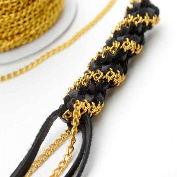 Scoubidou cuir et chaîne