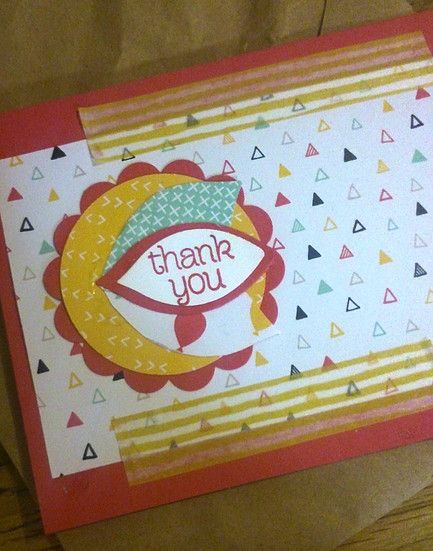 A thank you card made with It's My Party Designer Series paper, Melon Mambo card stock, the festive flower punch, and the thankful for you greeting from the Sheltering Tree stamp set from Stampin' Up!