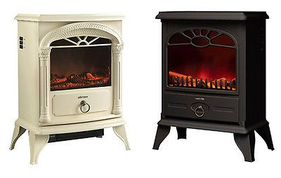 NEW Wood Burner Log Effect Electric Fire Free Standing Stove Cream Black