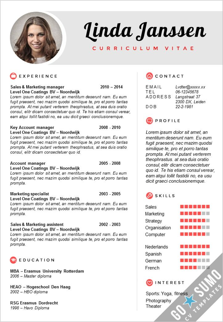 52 best Go Sumo CV templates Resume Curriculum Vitae design - resume 1 page