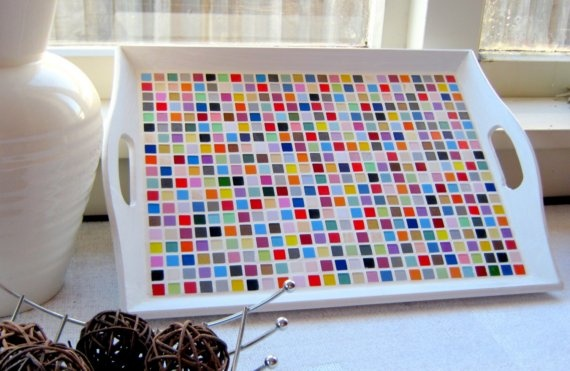 Patchwork mosaic tray Large