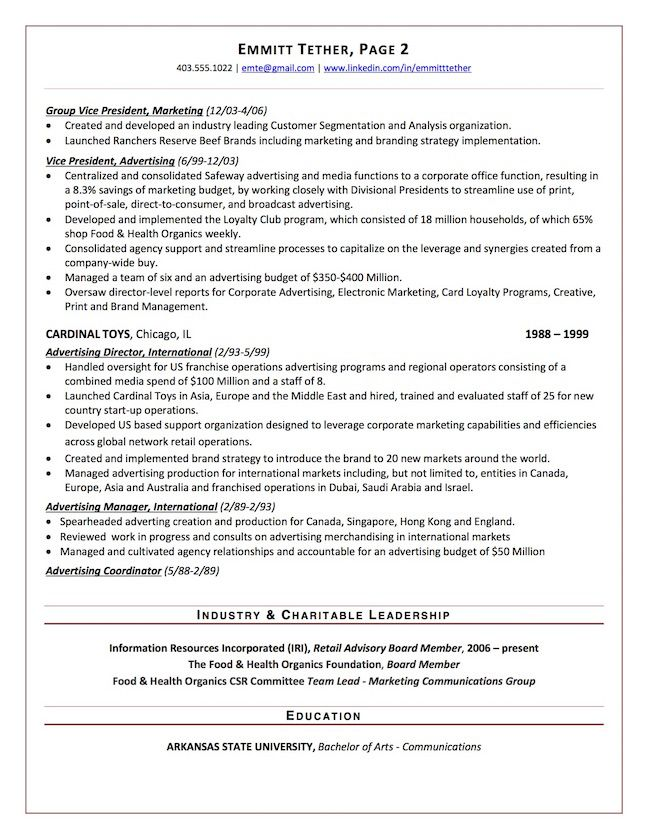 Chief Marketing Officer Resume Sample Page 2