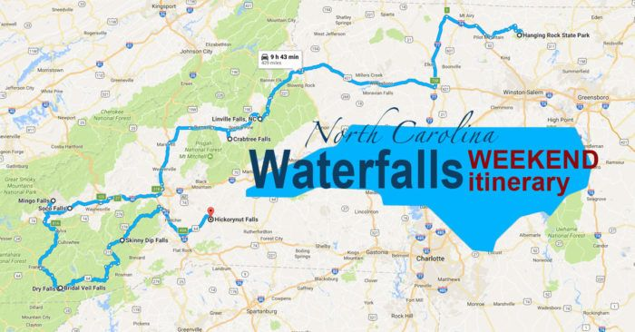 Hop in the car for an adventurous yet beautiful road trip! Here's The Perfect Weekend Itinerary If You Love Exploring North Carolina's Waterfalls
