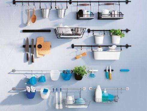 Ikea Kitchen Wall Storage System Fintorp Baskets Hooks Rails Cutlery Caddy Pans Ebay