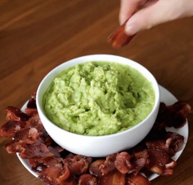 Bacon Chips + Guac-Cut bacon strips into rough 2-inch squares. Spread on a baking sheet and bake in a 400°F oven for 20 minutes until crisp. Dip into guacamole (or whatever) and enjoy!
