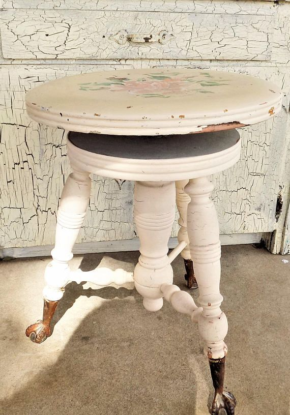 Victorian Swivel Piano Stool John Gerts Chicago Illinois Shabby Cream Paint Glass Ball Feet. Measures This stool takes you back in time. & The 25+ best Piano stool ideas on Pinterest | Upright piano Piano ... islam-shia.org