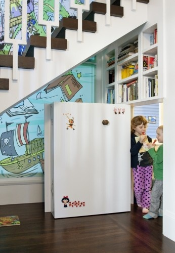 Hidden Library Under Staircase - contemporary - kids - san francisco - Jeff King & Company