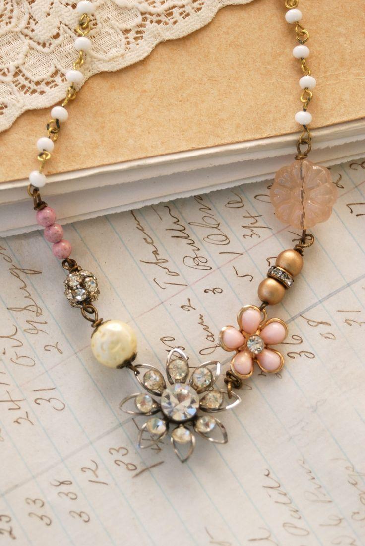 Romantic bliss.vintage assemblage, rhinestone beaded necklace Tiedupmemories