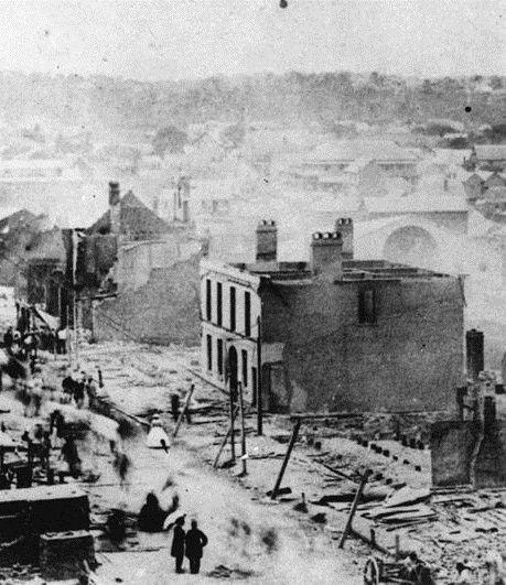 Destruction after the Great Fire of Brisbane. 1st December 1864.