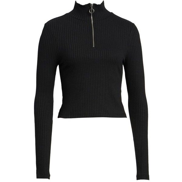 0fd3eff08c447 Women s Topshop Zip Rib Knit Crop Top (€14) ❤ liked on Polyvore featuring  tops