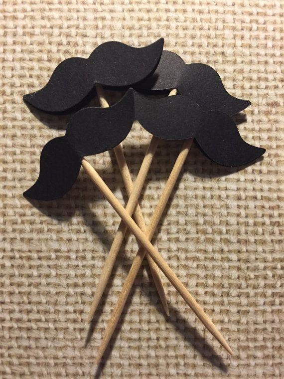 50 Mustache Food Party Picks/ Finger Food Picks by KipseysCardShop