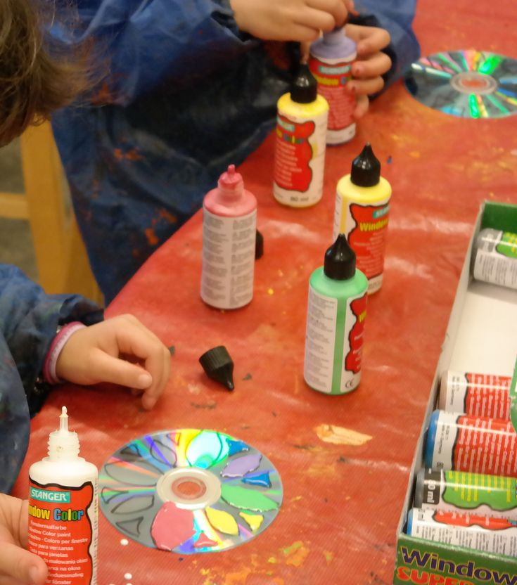 For Diwali we made sun catchers out of cds and plastic paint!