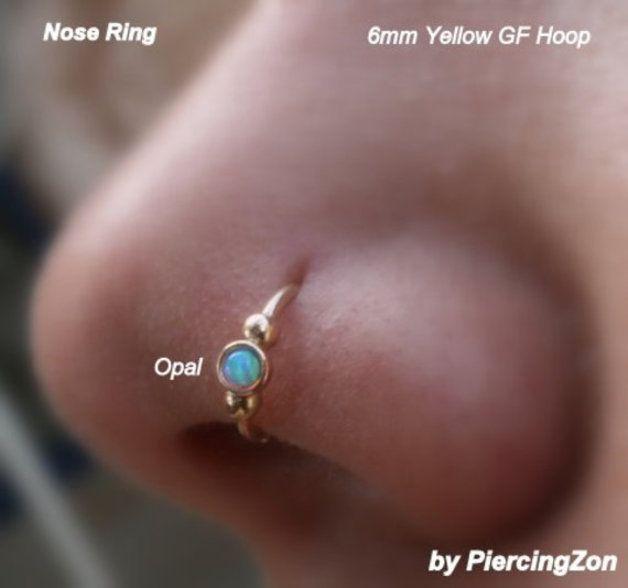 Gesichtspiercings - Opal Nose ring Septum beaded hoop earring piercing - ein Designerstück von piercingzon bei DaWanda