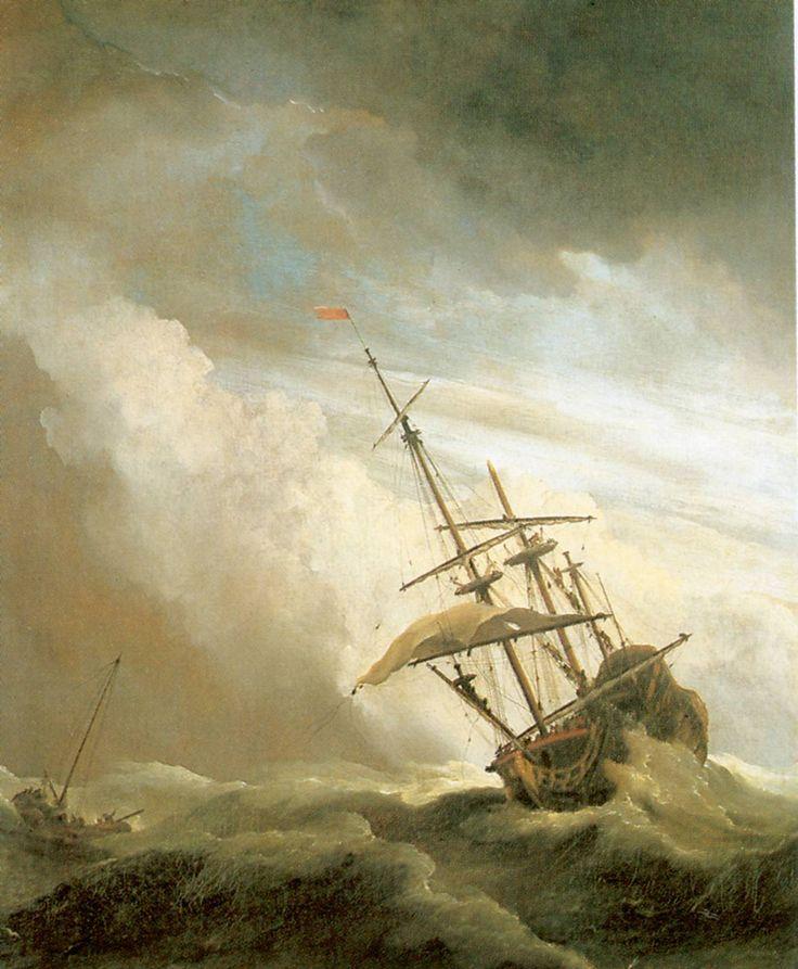 """Beweging door suggestie: Suggereren betekent in dit geval """"de indruk wekken"""". De manier waarom dit schilderij is gemaakt wekt de indruk dat er beweging in zit, maar dat is natuurlijk niet echt zo. Het lijkt of de golven woest opspringen en of het schip gevaarlijk schuin hangt in de wind."""