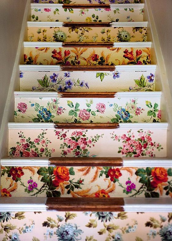 10 Modern Ways to Decorate with Granny Florals | Pretty floral-wallpapered stairs. @stylecaster