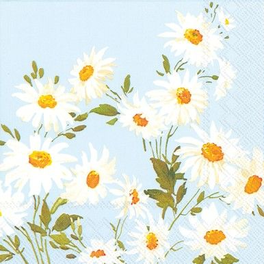 The Marguerite Meadow Blue paper napkins feature white daisies on a ...