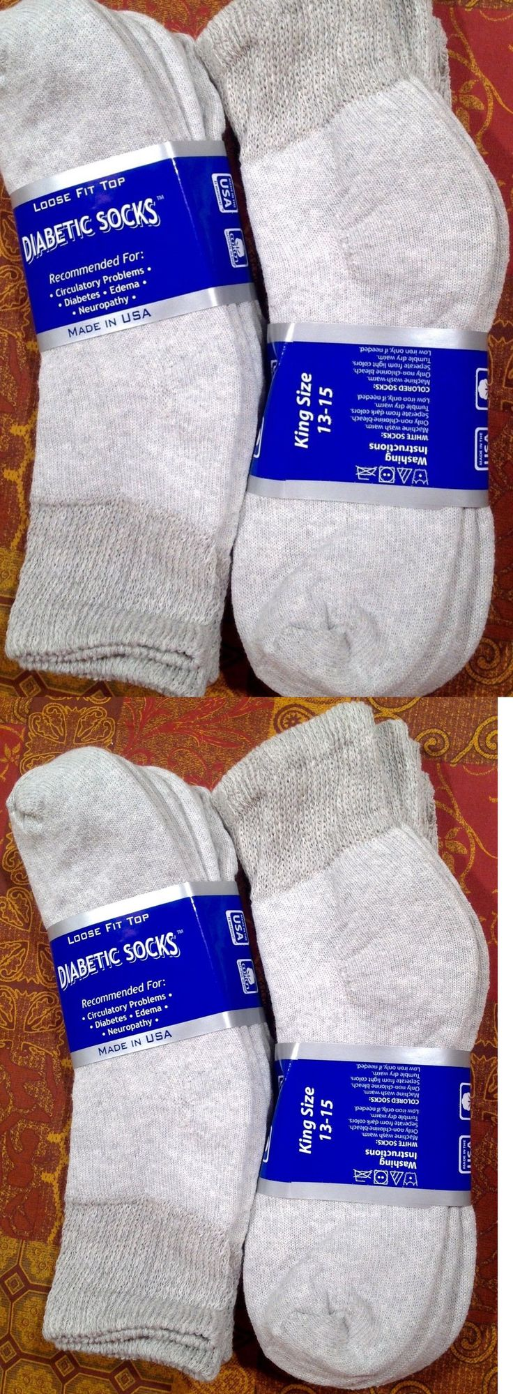 Socks 181140: (6) Pair Men S Gray Quarter Cotton Golf Diabetic Socks King Size 13-15 Grey Usa -> BUY IT NOW ONLY: $145 on eBay!