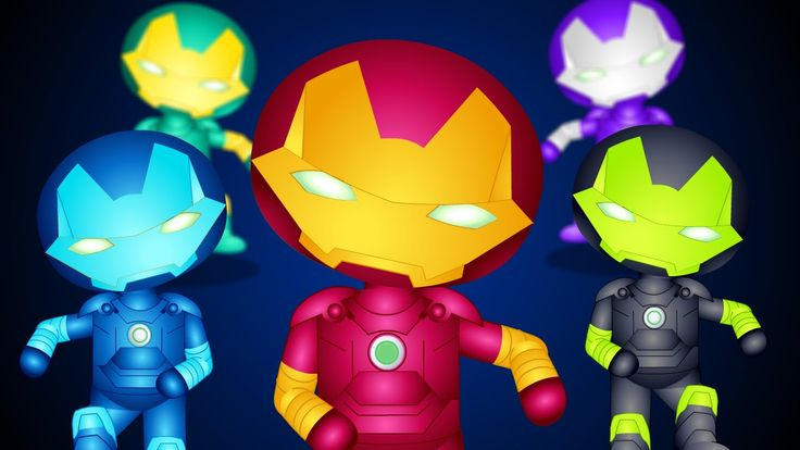 Five Little Iron man jumping | Five Little Colorful Super Heroes version...