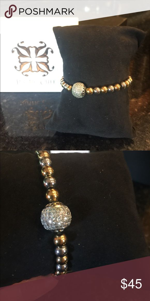 Rustic Cuff Rustic cuff gold and silver hard ware with round disco ball. Excellent condition. Jewelry Bracelets