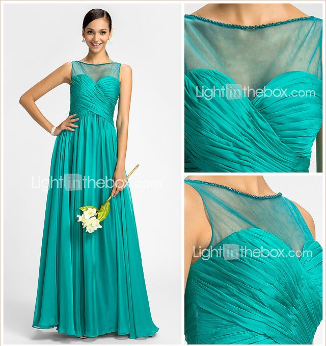 Bridesmaid Dress Floor Length Chiffon and Tulle Sheath Column Scoop Dress - USD $ 79.99