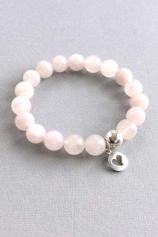 Genuine Rose Quartz Bracelet, Silver Heart Charm Bracelet, Pink Stone Jewelry and