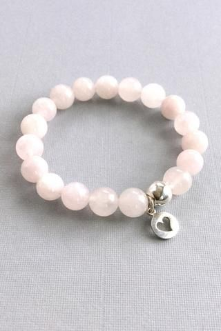 Genuine Rose Quartz Bracelet, Silver Heart Charm Bracelet, Pink Stone Jewelry and
