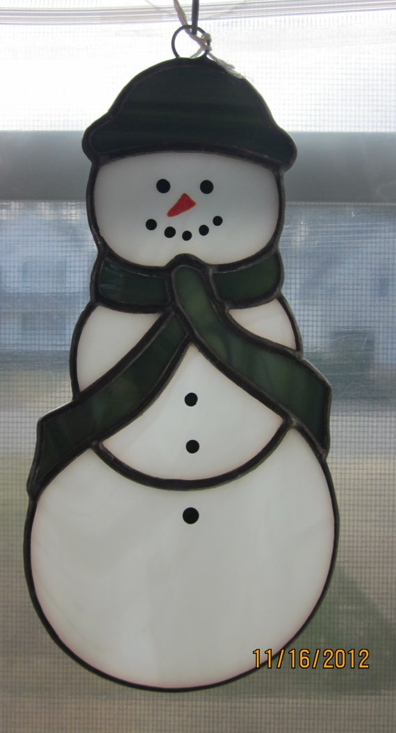 stained glass LARGE SNOWMAN suncatcher by Cinalou on Etsy, $25.00
