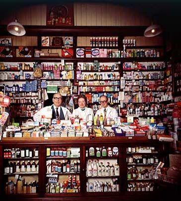 fully stocked chemist's shop UK