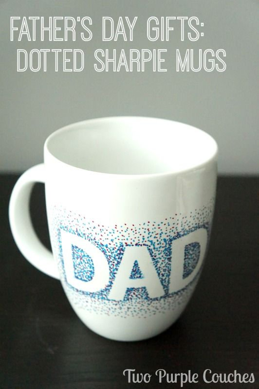 Great gift for Dad for Father's Day! Dotted Sharpie Mugs via www.twopurplecouches.com