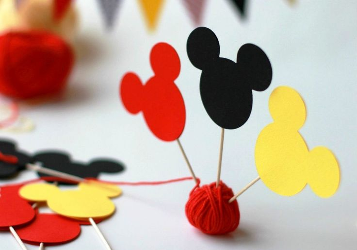 Mickey Mouse Cupcake Toppers, Cupcake Picks, Mickey Mouse Toppers, Cake Decorations, Age Toppers, Mickey Cupcake, Toppers, Cupcake Party - pinned by pin4etsy.com