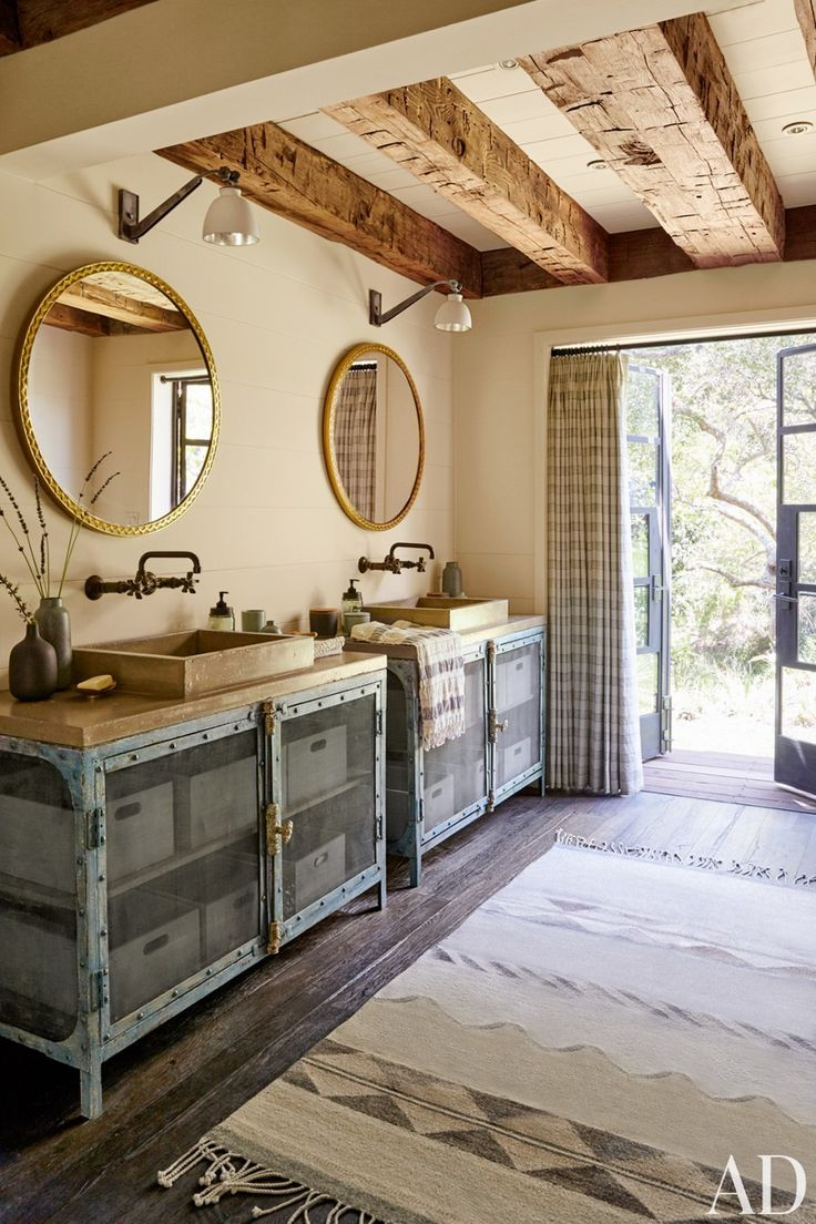 19 best vintage sinks and tubs images on pinterest tubs cast dramatic rustic style bathroom with patina hardware and vessel sinks functional and stylish