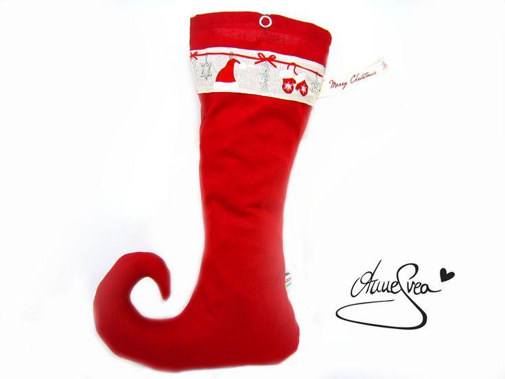 Elfenstrumpf Nikolaus Socke Stiefel rot uni Santa von www.annesvea.de