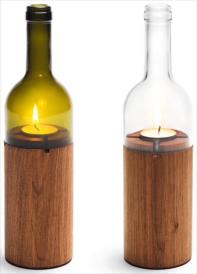 Originales Portavelas, Mitad Botella y Mitad Tronco