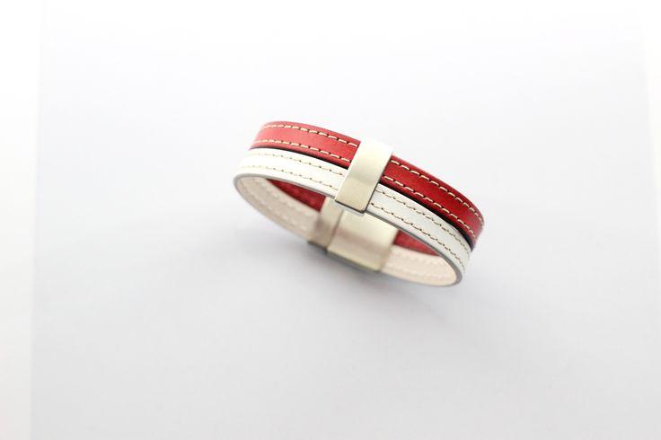 Bracelet Homme Cuirs cousus Blanc et Rouge passant barre (Taille personnalisable à la commande) : Bijoux pour hommes par creea2-atelier