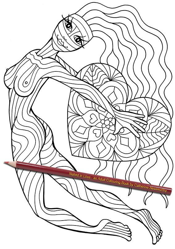 a patterned nude jumps through the air carrying her heart in this hand drawn design from naked in love an adult colouring book by catherine nessworthy - Nude Coloring Book