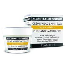Crème Visage Anti-âge Purifiante Matifiante - Acide Hyaluronique de Planter's : Fiche et 179 avis conso pour choisir vos crèmes jour pour le visage.