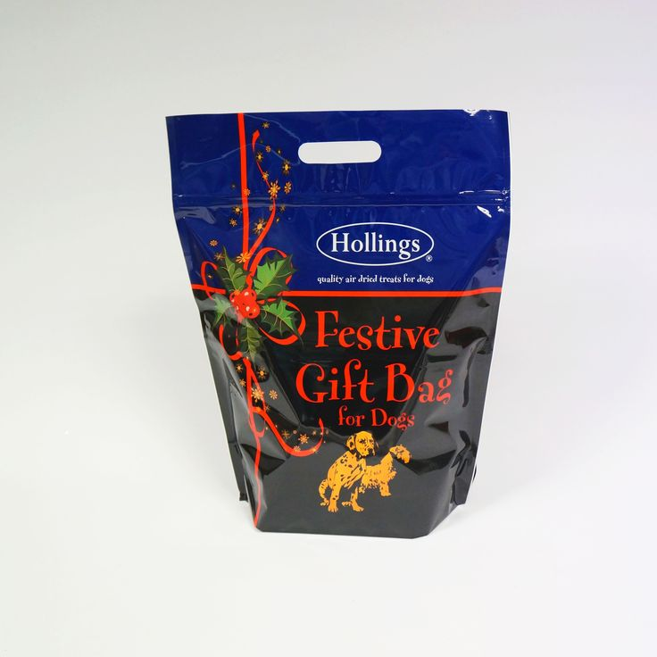 Hollings Festive Gift Bag Stand-up Pouch With Zipper and Handle. #Surepak #Packaging #Christmas #pets #Dogs